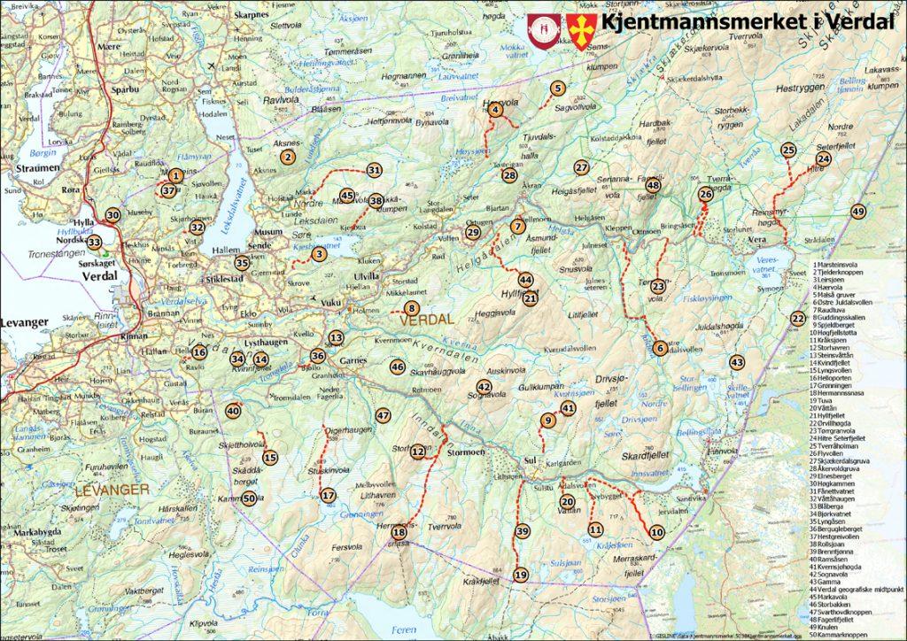 Kart over alle kjentmannsmerkene i Verdal